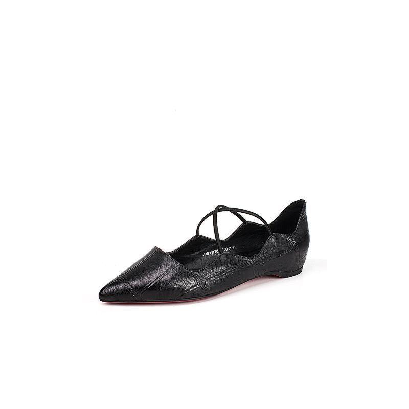 BASTO/百思图2017夏季专柜同款压纹羊皮休闲内增高尖头女单鞋YIT01BQ7