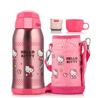 包邮  Hello Kitty 凯蒂猫 保温杯 双盖儿童水壶 水杯 600ML不锈钢保温旅行水瓶 配杯套