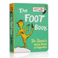 启蒙英文原版绘本 The Foot Book 纸板书 廖彩杏书单 2-5-6岁宝宝学习阅读英语正版进口图画书 不怕撕咬