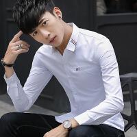 新款2018男士长袖男士个性长袖衬衫春款刺绣韩版男长袖衬潮流