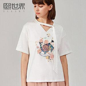 熙世界短袖V领猫咪刺绣T恤女2018年春夏装新款绣花上衣女112ST041