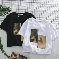 文艺潮流T恤男日系文艺鹿头印花半袖韩版潮男休闲体恤打底衫短