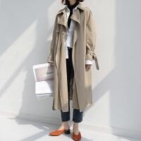 风衣女中长款 春款韩版大衣修身显瘦双排扣收腰系带长袖外套 卡其色