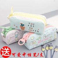 小学生笔袋女韩国大学生简约女生初中文具盒大容量小清新可爱创意