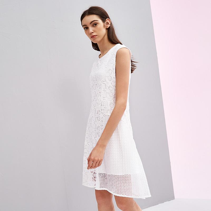 熙世界中长款无袖拼接白色连衣裙女2018年新款