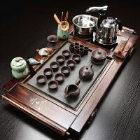 家用实木茶盘四合一茶道电磁炉简约茶台全自动茶具套装