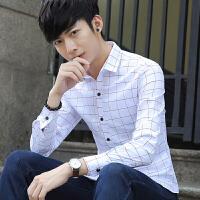 秋季新款男士长袖衬衫韩版修身格子印花免烫衬衣休闲男装寸衫