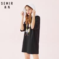 【3折价:56】森马卫衣女2021春季新款短袖连帽撞色韩版潮流印花宽松上衣学生