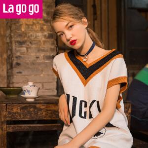 Lagogo2017秋季新款中长款毛衣V领套头薄款毛衫无袖印花针织衫女