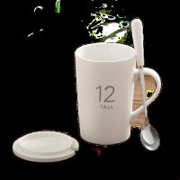 陶瓷杯子大容量水杯创意马克杯简约情侣杯带盖勺咖啡杯牛奶杯定制SN6294
