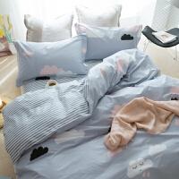 北欧韩式简约全棉被套床上用品四件套1.51.8棉床笠床单三件套