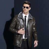 皮衣男士冬季新款休闲西装领真皮夹克男式加厚修身爸爸中年皮毛一体外套