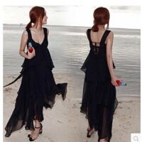 ZAH雪纺连衣裙女士2017夏季新款海边沙滩裙度假长裙三亚泰国性感V领显瘦 黑色(有胸垫)