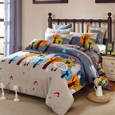 当当优品 纯棉活性印花双人六件套1.8/1.5m床单优优森林当当自营 纯棉面料 柔软舒适 可爱卡通
