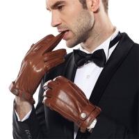 手套男士分指黑色潮冬季保暖时尚羊绒里羊皮手套