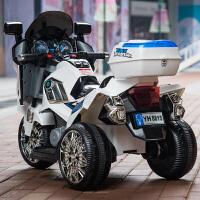 电动三轮车儿童儿童电动车摩托车三轮车大号可坐双驱双电男女宝宝可坐人玩具警车 高配单电单驱 白色+音乐