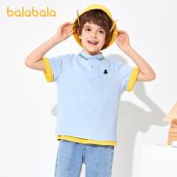 【2件7.5折:67.4】巴拉巴拉童装儿童t恤2021新款夏装男童短袖中大童POLO衫学院风潮