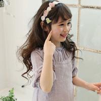 儿童发饰 女童玫瑰花朵发带 女孩发饰发带小孩头饰情人节礼物 粉白玫瑰花