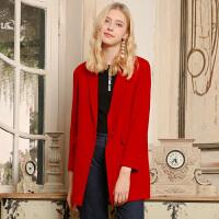 冬装新品 西装领双面呢大衣中长羊毛外套X640171D10