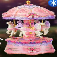 旋转木马音乐盒八音盒天空之城女生公主生日情人节礼物送儿童女孩礼品 蓝牙款:紫色《天空之城》精品