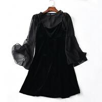 大码女装微胖套装减龄冬装连衣裙新款200斤胖mm显瘦藏肉两件套裙a 黑色 大码XL