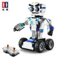 双鹰C51028 搭搭机器人电动遥控积木 儿童玩具拼装拼插积木模型