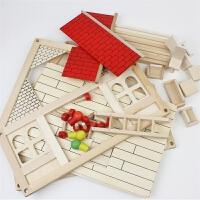 大号木质小别墅 亲子早教DIY木制儿童玩具 拼插建构玩具