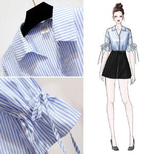 安妮纯条纹女衬衫夏季短袖宽松ins超火的港风短袖衬衫女韩系chic上衣喇叭袖V领衬衣