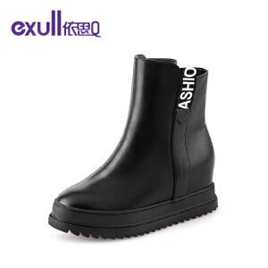 依思Q潮字母休闲个性短靴圆头内增高跟女靴