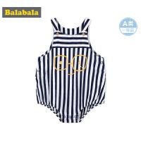 巴拉巴拉男婴儿连体衣夏装2018新款小童宝宝A类外出服哈衣爬服潮