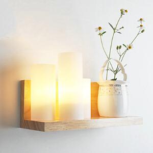 幽咸家居创意木灯 木艺楼梯 玄关过道灯 卧室床头灯 玻璃实木壁灯YX-LMD-0102