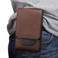 7.12寸华为荣耀8X MAX手机包双层皮套腰带竖挂腰包穿皮带男 6.3寸 至 7.12寸 棕色