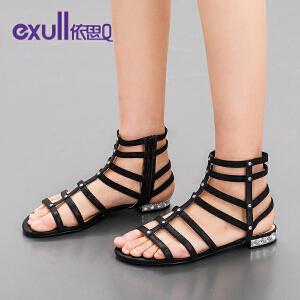 依思q秋夏新款凉鞋女罗马时尚铆钉侧拉链平跟低跟女鞋