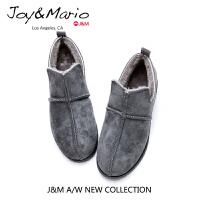 jm快乐玛丽女鞋秋冬季平底棉鞋女士保暖加绒鞋反绒皮休闲鞋61752W