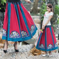 棉麻半身裙长裙 夏季 民族风女装棉麻复古 拼接绣花花布半身长裙