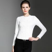 秋冬装韩版花边加绒打底小衫女长袖修身百搭加厚白色蕾丝上衣