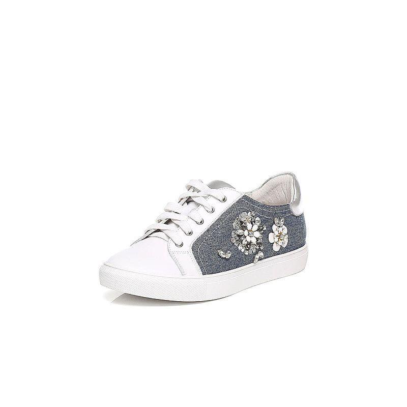 Tata/他她2017年春季专柜同款兰色斜纹布女休闲鞋FDC21AM7