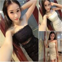 夜店女装夏季性感透视露腰蕾丝裹抹胸连衣裙气质露背紧身包臀短裙