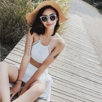 温泉泳衣女分体三件套高腰小胸聚拢韩国小香风度假黑白色蕾丝