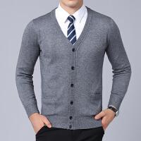 中老年男士V领长袖毛衣秋冬新款爸爸针织开衫男装外套上衣