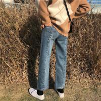 春装韩版宽松做旧九分直筒阔腿裤复古显瘦高腰牛仔裤女学生长裤潮