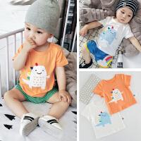 夏季婴儿短袖T恤衫卡通纯棉上衣新生儿0-1-2岁全棉夏装宝宝新款潮