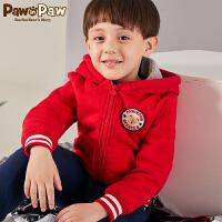 【秒杀价:120】Pawinpaw卡通小熊童装冬男女童加绒连帽拉链开衫外套