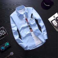 衬衫男士长袖衬衣男装青少年学生修身型寸衫