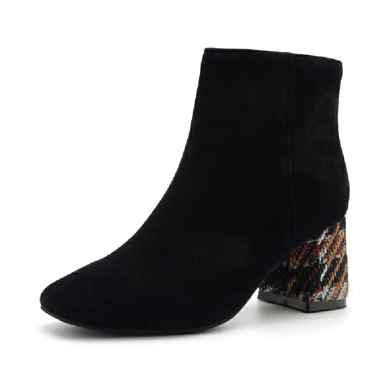 星期六(ST&SAT)冬季专柜同款牛皮革/绒面羊皮革潮流短靴SS8411662
