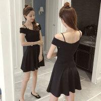 夏季一字领连衣裙女2018新款韩版性感露肩小黑裙大码显瘦吊带裙子 黑色