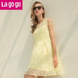 Lagogo2017年夏季新款甜美欧根纱高腰显瘦连衣裙女无袖A字短裙