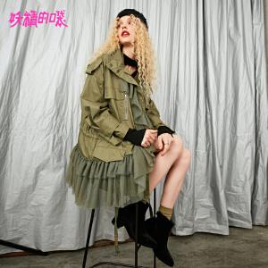 【低至1折起】妖精的口袋通勤上衣秋季2018新款休闲韩版chic拉链混搭风衣女