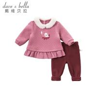 [3折价:119.1]戴维贝拉秋冬装新款女童卡通两件套宝宝套装DBM8630