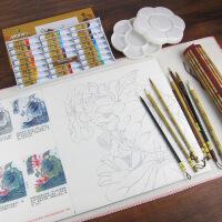 工笔画毛笔套装初学入门狼兼毫大白云勾线笔素材白描纸底稿国画绘画花鸟学生颜料工具